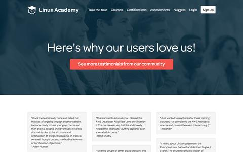 Screenshot of Testimonials Page linuxacademy.com - Linux Academy | Linux and AWS Online Training - captured Jan. 30, 2016