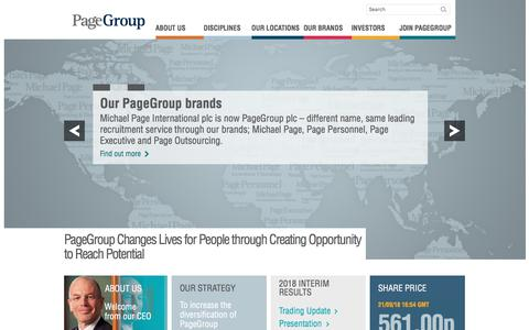 Screenshot of Home Page page.com - Worldwide leaders in specialist recruitment  – PageGroup - captured Sept. 24, 2018