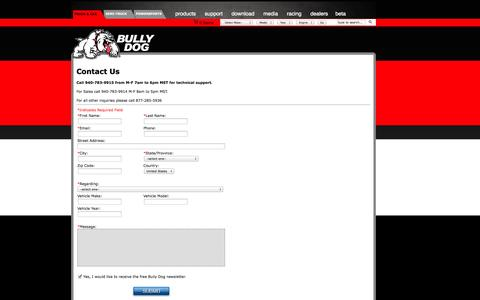 Screenshot of Contact Page bullydog.com - Bully Dog - Gas and Diesel Performance - captured Sept. 22, 2014