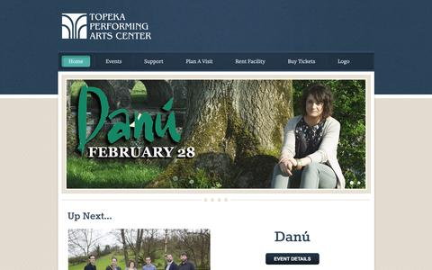 Screenshot of Home Page tpactix.org - Topeka Performing Arts Center - Home - captured Feb. 17, 2016