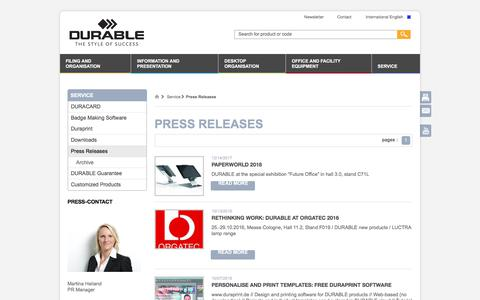 Screenshot of Press Page durable.eu - Press Releases - DURABLE - captured March 12, 2018
