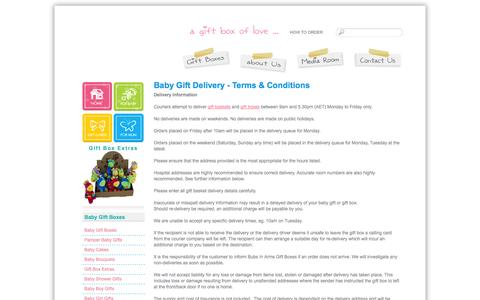 Screenshot of Terms Page bubsinarms.com.au - Baby Gift Boxes, Baby Cakes, Baby Bouquets, Gift Baskets, Baby Shower Gifts, Pamper gifts, Brisbane - captured Oct. 5, 2014