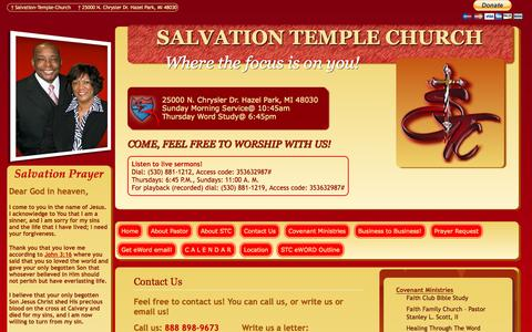 Screenshot of Contact Page salvationtchurch.org - SALVATION TEMPLE CHURCH - captured Oct. 4, 2014