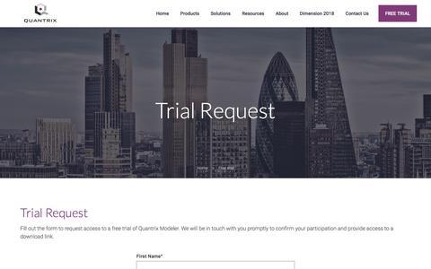 Screenshot of Trial Page quantrix.com - Quantrix | Free Trial - captured July 22, 2018