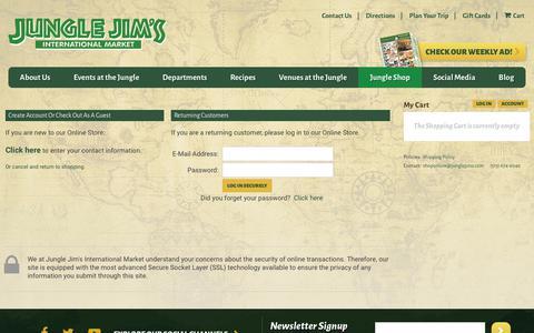 Screenshot of Login Page junglejims.com - Login – Jungle Jim's International Market Online Store - captured Oct. 14, 2018