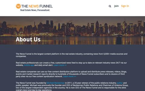 Screenshot of About Page thenewsfunnel.com - About Us | The News Funnel - captured Feb. 7, 2019