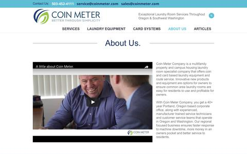 Screenshot of About Page coinmeter.com - About Us | Laundry Sales & Service | Coin Meter - captured Aug. 10, 2017