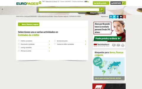 Screenshot of europages.es - Entidades de crédito , todos los proveedores para España y Europa de EUROPAGES - captured Sept. 12, 2015