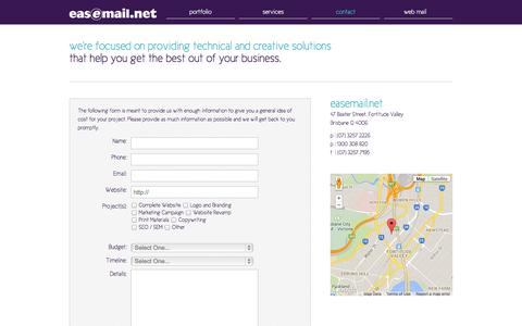 Screenshot of Contact Page easemail.net - Easemail.net | Contact Us & Quote Request Form - captured Oct. 1, 2014