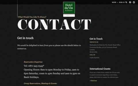 Screenshot of Contact Page hotelduvin.com - Contact Us - Hotel du Vin & Bistro - captured Sept. 22, 2014