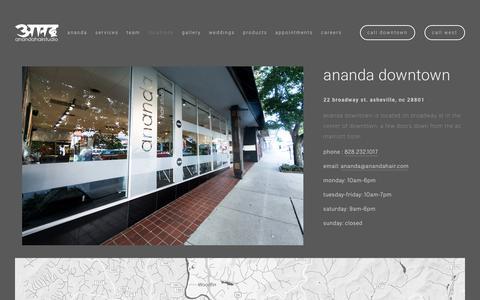 Screenshot of Locations Page anandahair.com - locations — ananda hair studio - captured Oct. 3, 2018