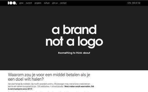 Screenshot of Home Page 100.nl - 100 webbureau + ontwerpstudio - captured Jan. 10, 2016