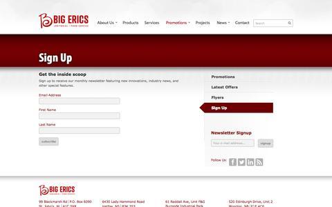 Screenshot of Signup Page bigerics.com - Sign Up | Big Erics - captured Oct. 5, 2014