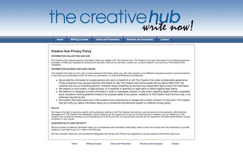 Screenshot of Privacy Page thecreativehub.net.nz - Privacy Policy - The Creative Hub - captured Oct. 26, 2014
