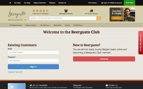 Screenshot of Login Page beergusto.com - Account • Beergusto, the Belgian Beer Specialist - captured Sept. 30, 2014
