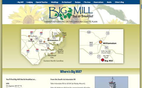 Screenshot of Maps & Directions Page bigmill.com - B&B Lodging near the Outer Banks Ferry to Ocracoke NC - captured Feb. 7, 2016