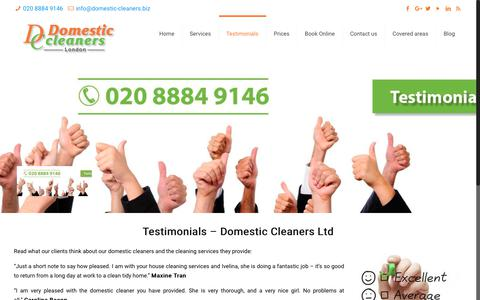 Screenshot of Testimonials Page domestic-cleaners.biz - Client Testimonials | Domestic Cleaners in London | Cleaning Services - captured Oct. 9, 2018