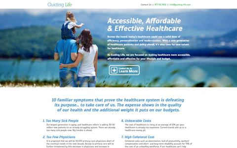 Screenshot of Home Page guiding-life.com - Accessible, Affordable & Effective Healthcare | Guiding Life - captured Oct. 3, 2014