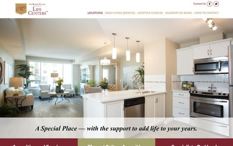 Screenshot of Locations Page themanorvillage.com - Manor Village locations, retirement communities Canada, senior living Arizona, London ON - captured Oct. 18, 2018