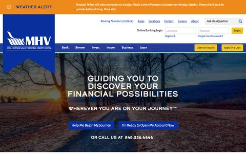 Screenshot of Home Page mhvfcu.com - Mid-Hudson Valley Federal Credit Union - Mid-Hudson Valley Federal Credit Union - captured March 4, 2019