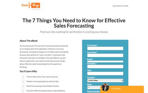 Screenshot of Landing Page datahug.com - The 7 Things You Need to Know for Effective Sales Forecasting | Datahug - captured Nov. 12, 2019