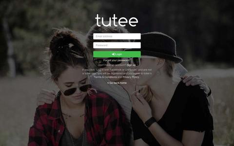 Screenshot of Login Page tuteeapp.com - Student sign up   tuteeapp.com - captured Sept. 10, 2014