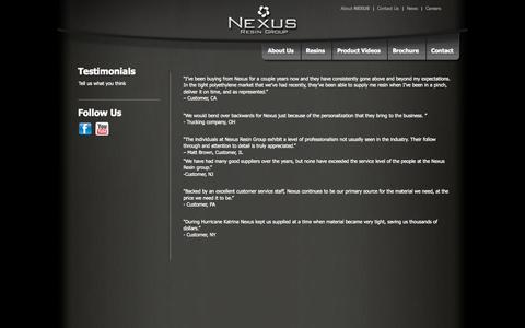 Screenshot of Testimonials Page nexusresingroup.com - Testimonials - Nexus Resin Group - captured Oct. 29, 2014