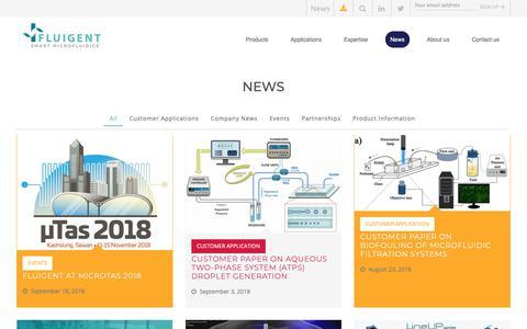 Screenshot of Press Page fluigent.com - Microfluidic Blog - News - Events - Tips - Applications | Fluigent - captured Nov. 6, 2018