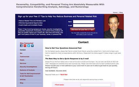 Screenshot of Contact Page scottpetullo.com - Professional personality assessment and prediction - captured Oct. 27, 2014