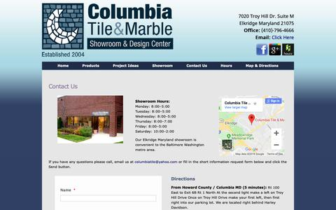 Screenshot of Contact Page Hours Page columbiatileandmarble.com - Contact Form Maryland Tile & Marble Showroom - captured Oct. 31, 2018