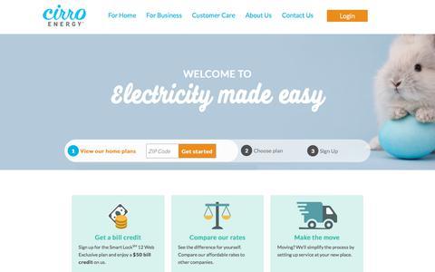 Screenshot of Home Page cirroenergy.com - Welcome | Cirro Energy - captured April 25, 2018