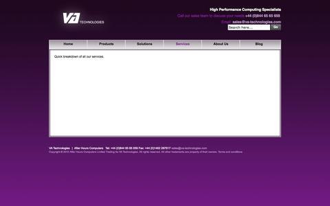 Screenshot of Services Page va-technologies.com - Services - captured Oct. 29, 2014