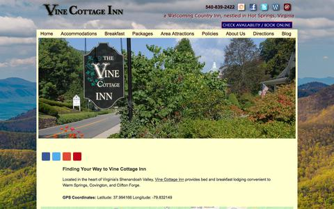 Screenshot of Contact Page Maps & Directions Page vinecottageinn.com - Bed and Breakfast Lodging in Virginia's Shenandoah Valley - captured July 1, 2018