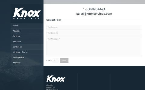 Screenshot of Contact Page knoxservices.com - Contact Us - Knox Services - captured Aug. 9, 2016