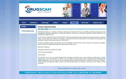 Screenshot of Jobs Page drugscan.com - Career Opportunities - captured Sept. 30, 2014