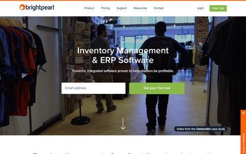 Screenshot of Home Page brightpearl.com - Inventory Management & ERP Software | Brightpearl - captured Feb. 23, 2016