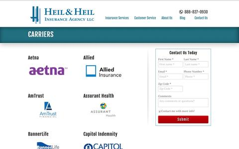 Screenshot of Support Page heilandheil.com - Our Carriers in Illinois and Beyond | Heil & Heil Insurance Agency - captured Nov. 6, 2016