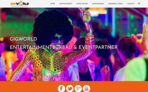 Screenshot of Home Page gigworld.nl - GigWorld Entertainmentbureau en Eventpartner. Artiesten & events. - captured Sept. 25, 2018