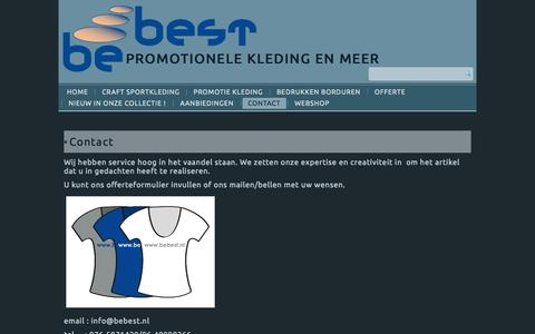 Screenshot of Contact Page bebest.nl - Contact opnemen met Be Best - captured Sept. 30, 2014