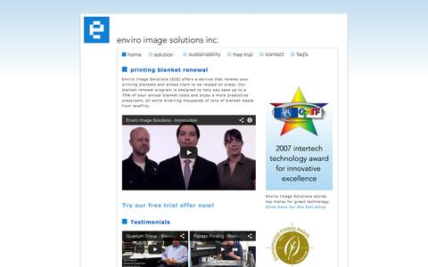 Screenshot of Home Page enviroimagesolutions.com - Enviro Image Solutions Inc. - captured Sept. 30, 2014