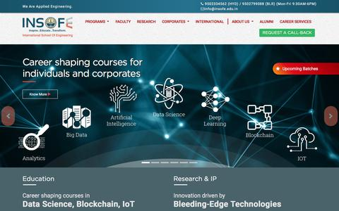 Screenshot of Home Page insofe.edu.in - Big Data Analytics & Hadoop Certification | Training | Consulting | R & D | Product Development - captured Sept. 24, 2018
