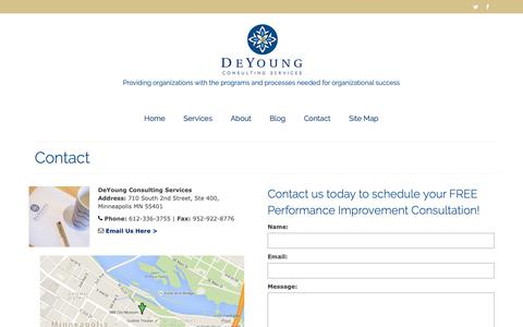 Screenshot of Contact Page deyoungconsultingservices.com - Contact - DeYoung Consulting Services, Minneapolis, Minnesota | Nationally Serving Nonprofits and Public Sector Clients - captured Oct. 8, 2018