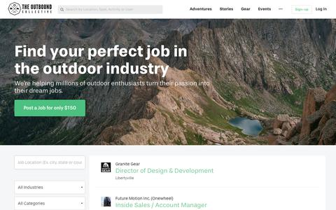 Screenshot of Jobs Page theoutbound.com - The Best Outdoor Jobs and Careers - on The Outbound Collective - captured April 20, 2018