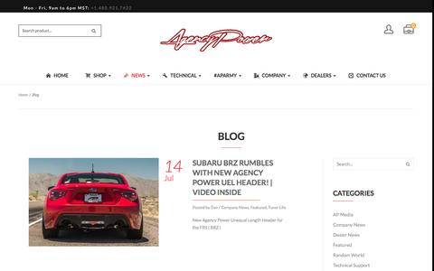 Screenshot of Press Page agency-power.com - New Performance Products, Customer Vehicles & More! - captured July 25, 2016