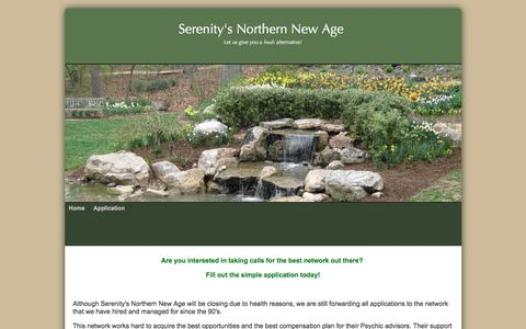 Screenshot of Home Page Privacy Page serenity-snna.com - Serenity's Northern New Age is hiring Psychic readers for a busy  Network!!Tarot,Astrology,Runes - captured April 7, 2017