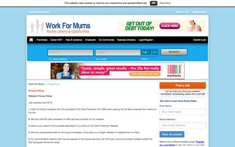 Screenshot of Privacy Page workformums.co.uk - Privacy Policy - Full Time, Part Time, Flexible Jobs For Mums - captured Sept. 23, 2014