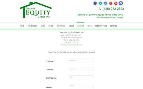 Screenshot of Contact Page cascade-equity.com - Cascade Equity Group, Inc Contact Us - captured Jan. 26, 2016