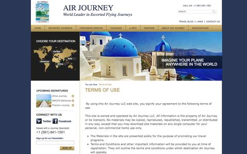 Screenshot of Terms Page airjourney.com - Terms of Use | Air Journey - captured Sept. 30, 2014