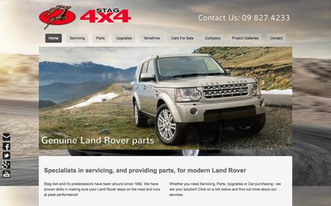 Screenshot of Home Page stag4x4.co.nz - Range Rover Specialists09 8274233 - Stag 4x4 are Specialists in Land Rover Repairs, Parts, & Upgrades - captured Sept. 30, 2014