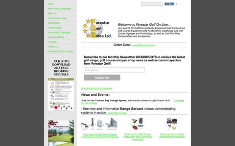 Screenshot of Home Page forestargolf.com - Forestar Golf - Golf Driving Range, Golf Course and Golf Pro Shop Supplies and Equipment - captured Oct. 6, 2014